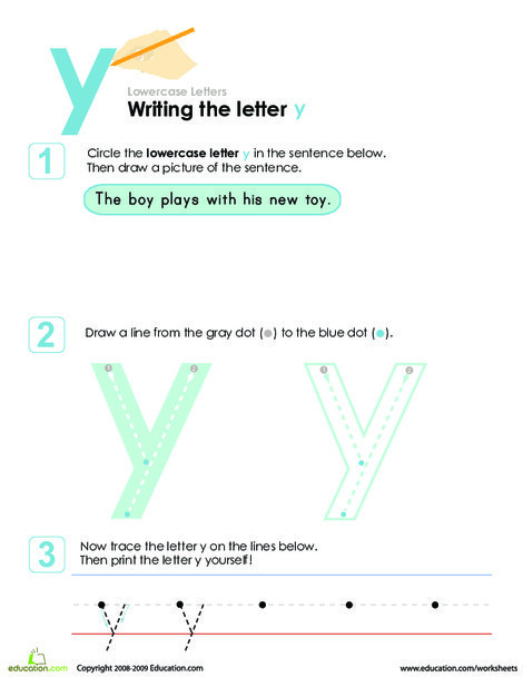 Kindergarten Reading & Writing Worksheets: Writing the Letter y