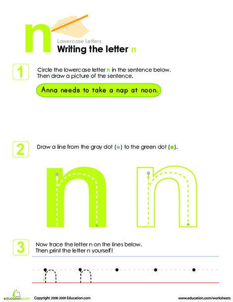 Kindergarten Reading & Writing Worksheets: Writing the Letter n