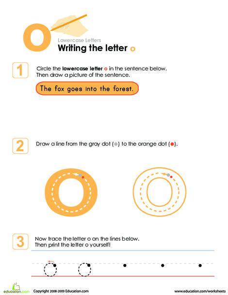 Kindergarten Reading & Writing Worksheets: Writing the Letter o