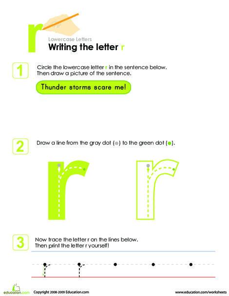 Kindergarten Reading & Writing Worksheets: Writing the Letter r