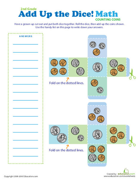 Second Grade Math Worksheets: Add Up the Dice