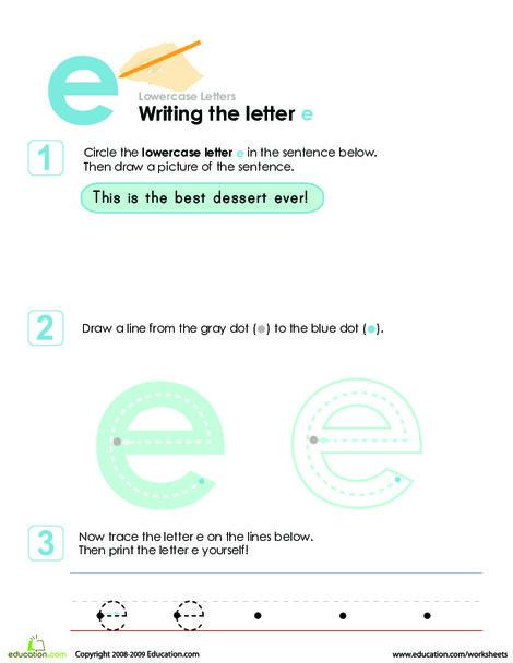 Preschool Reading & Writing Worksheets: Writing the Letter e