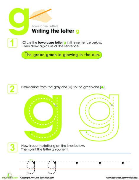 Kindergarten Reading & Writing Worksheets: Writing the Letter g