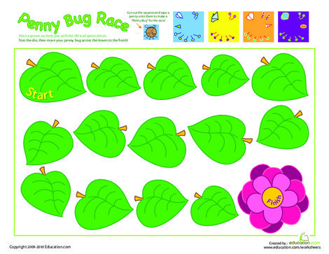 Preschool Offline games Worksheets: Penny Bug Race