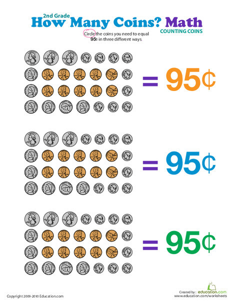 Second Grade Math Worksheets: How Many Coins Make 95 Cents?