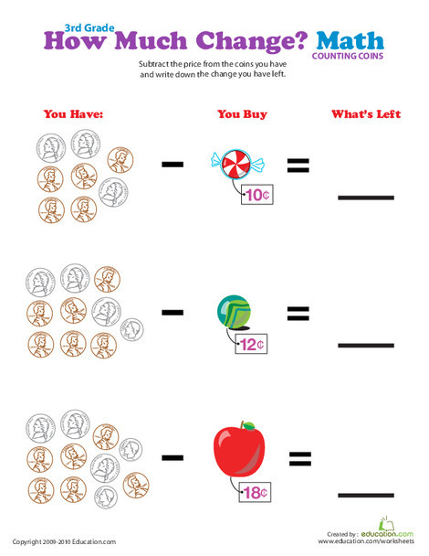 Third Grade Math Worksheets: Coin Subtraction