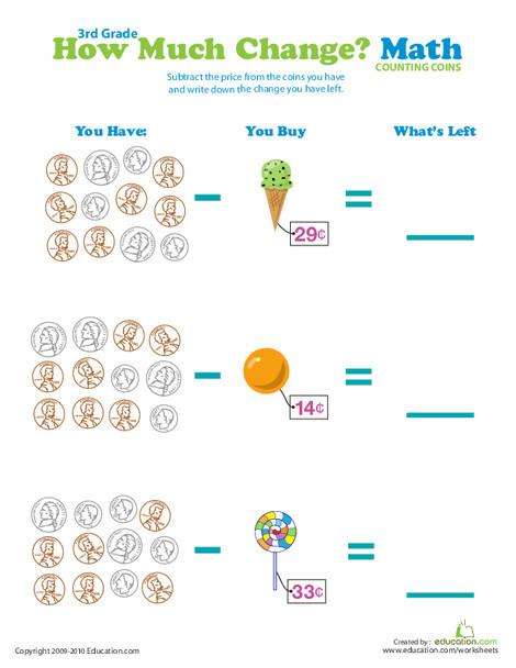 Third Grade Math Worksheets: Pocket Change: What's Left?