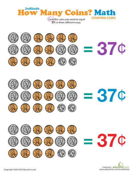 Second Grade Math Worksheets: How Many Coins Make 37 Cents?