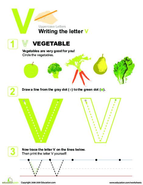 Preschool Reading & Writing Worksheets: V is for Vegetables! Practice Writing the Letter V
