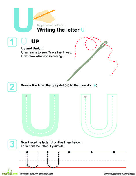 Preschool Reading & Writing Worksheets: U is for Up! Practice Writing the Letter U