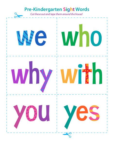 Preschool Reading & Writing Worksheets: Pre-Kindergarten Sight Words: We to Yes