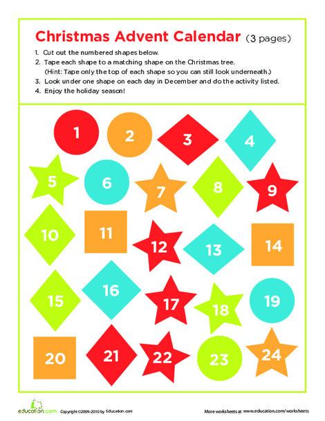 Third Grade Arts & crafts Worksheets: Christmas Advent Calendar