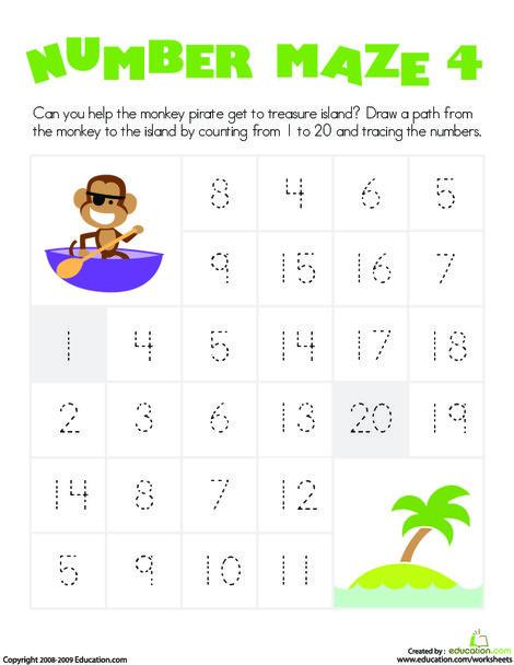 Kindergarten Math Worksheets: Number Maze: Monkey Pirate
