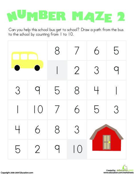 Kindergarten Math Worksheets: Number Maze: School Bus