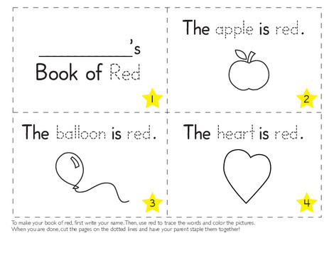Preschool Reading & Writing Worksheets: The Color Red