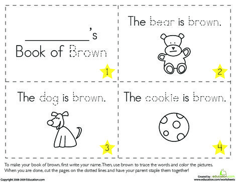 Preschool Reading & Writing Worksheets: The Color Brown