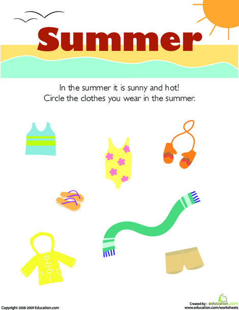 Preschool Science Worksheets: What Do You Wear in the Summer?