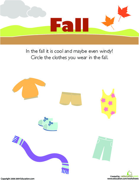 Preschool Science Worksheets: What to Wear in the Fall