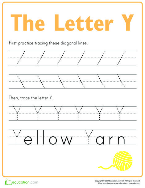 Preschool Reading & Writing Worksheets: Practice Tracing the Letter Y