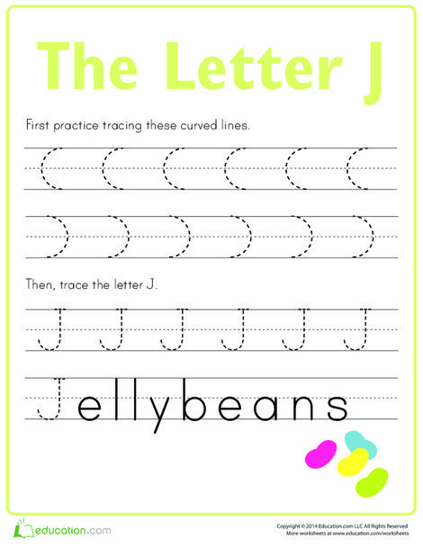 Preschool Reading & Writing Worksheets: Practice Tracing the Letter J
