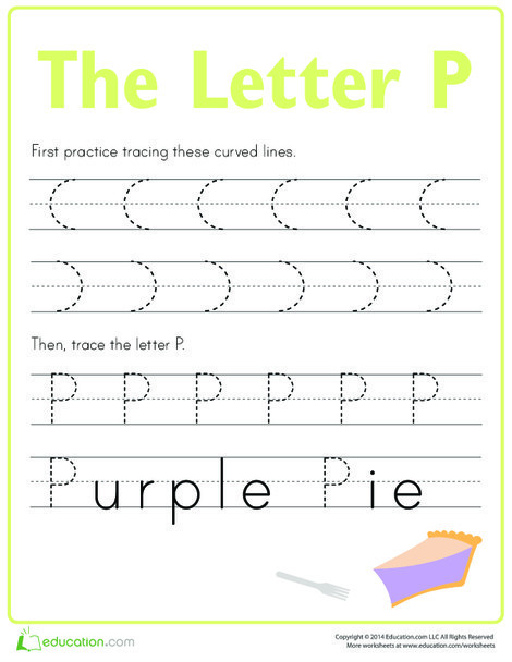 Kindergarten Reading & Writing Worksheets: Practice Tracing the Letter P
