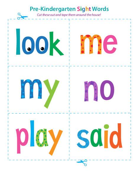 Preschool Reading & Writing Worksheets: Pre-Kindergarten Sight Words: Look to Said