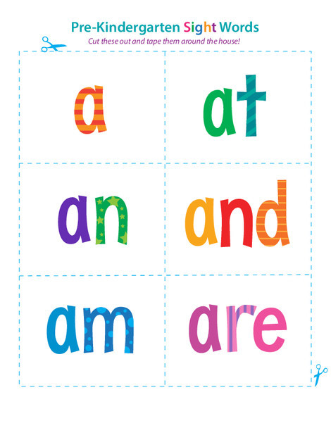 Preschool Reading & Writing Worksheets: Pre-Kindergarten Sight Words: A to Are
