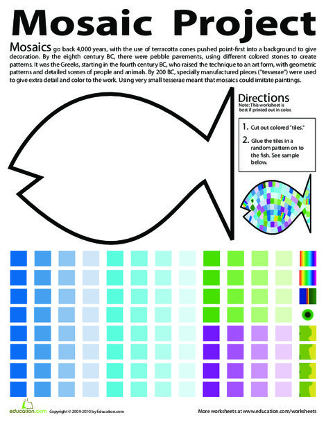 Second Grade Arts & crafts Worksheets: Make a Fish Mosaic