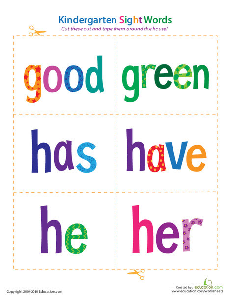 Kindergarten Reading & Writing Worksheets: Kindergarten Sight Words: Good to Her
