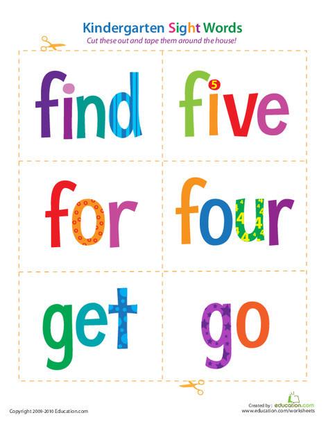 Kindergarten Reading & Writing Worksheets: Kindergarten Sight Words: Find to Go