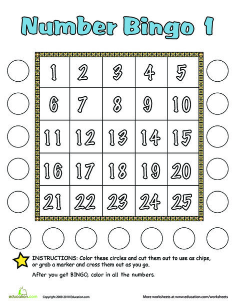 Kindergarten Math Worksheets: Number Bingo 1