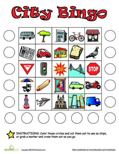 Kindergarten Offline games Worksheets: City Bingo