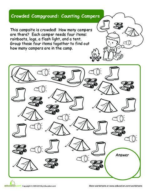 Kindergarten Math Worksheets: Organize the Campsite