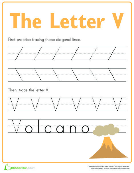 Preschool Reading & Writing Worksheets: Practice Tracing the Letter V