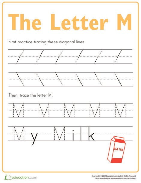 Preschool Reading & Writing Worksheets: Practice Tracing the Letter M