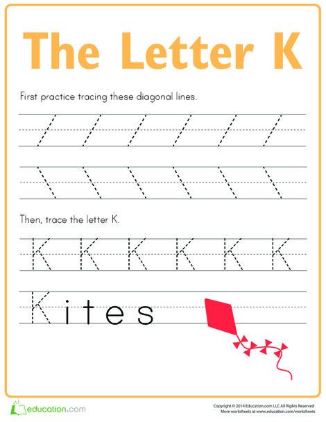 Preschool Reading & Writing Worksheets: Practice Tracing the Letter K