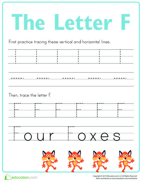 Preschool Reading & Writing Worksheets: Practice Tracing the Letter F