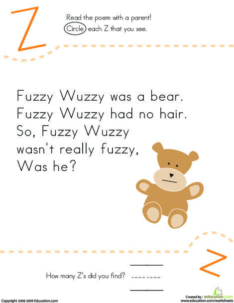 Kindergarten Reading & Writing Worksheets: Find the Letter Z: Fuzzy Wuzzy
