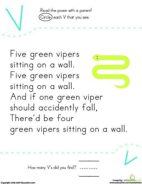 Kindergarten Reading & Writing Worksheets: Find the Letter V: Five Vipers