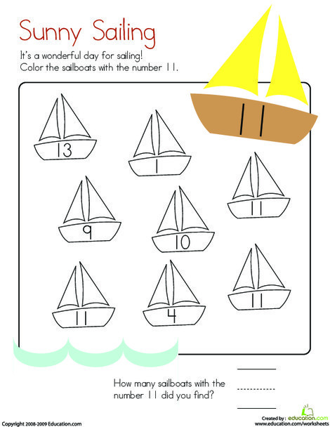 Kindergarten Math Worksheets: Number 11 Coloring Page