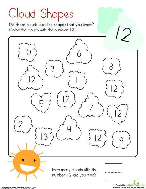 Kindergarten Math Worksheets: Coloring 12: Cloud Shapes