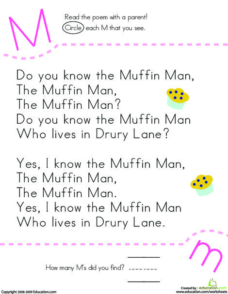 Preschool Reading & Writing Worksheets: Find the Letter M: Do You Know the Muffin Man?