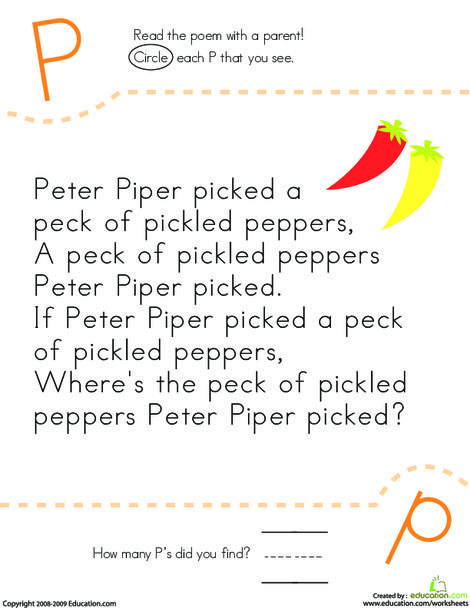 Kindergarten Reading & Writing Worksheets: Find the Letter P: Peter Piper