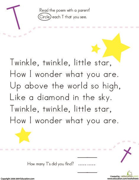 Kindergarten Reading & Writing Worksheets: Find the Letter T: Twinkle, Twinkle, Little Star