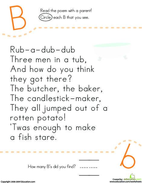 Kindergarten Reading & Writing Worksheets: Find the Letter B: Rub-a-Dub-Dub