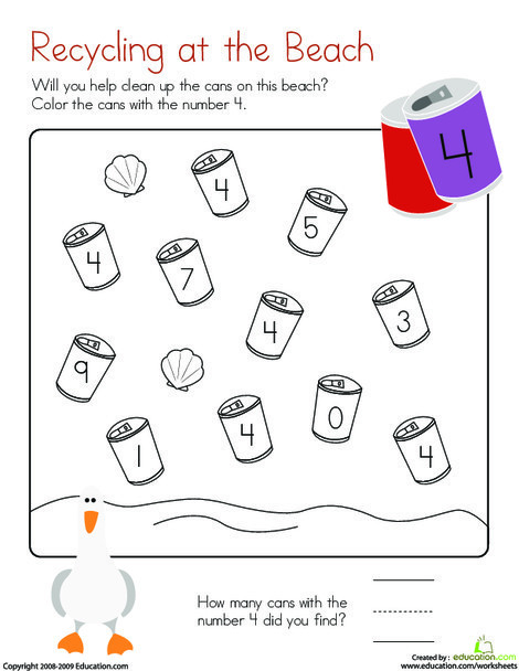 Kindergarten Math Worksheets: Coloring 4: Recycling at the Beach