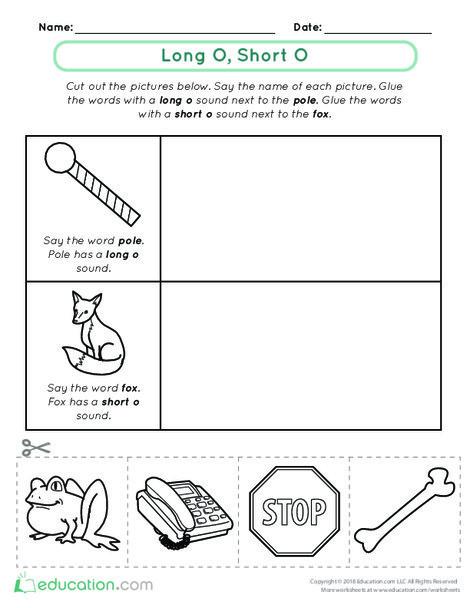Kindergarten Reading & Writing Worksheets: Vowel Sounds: Long O, Short O