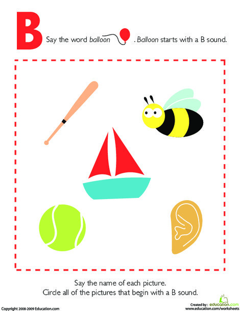 Preschool Reading & Writing Worksheets: Letter Sounds: B