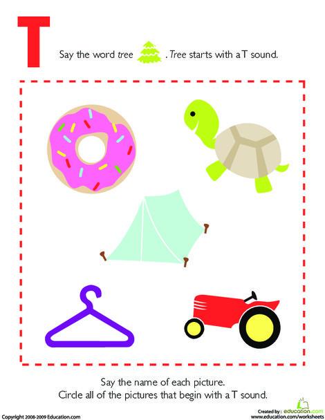 Preschool Reading & Writing Worksheets: Letter Sounds: T