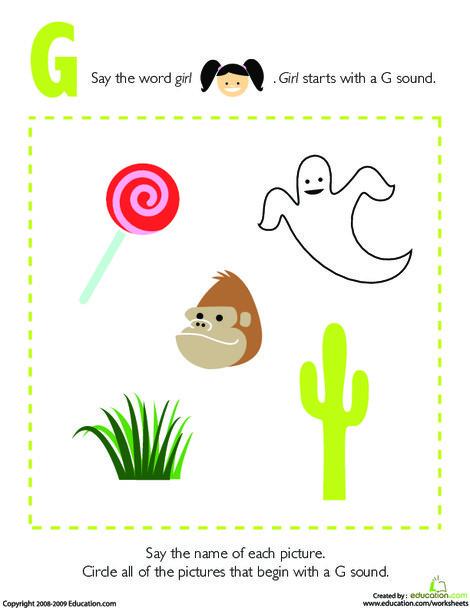 Preschool Reading & Writing Worksheets: Letter Sounds: G